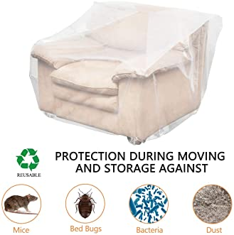 HOMEIDEAS 4 Mil Extra Thick Plastic Sofa Cover for Moving Protection & Long Term Storage, 3D Envelope Shape Furniture...