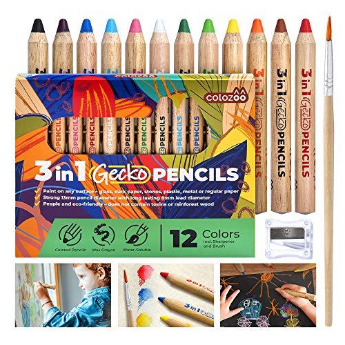 colozoo Dicke Buntstifte, Wasserfarbe und Wachsmalkreide Gecko 3 in 1 Stifte | 12 Wachsmalstifte wasservermalbar inkl. Pinsel und Spitzer | Malstifte für Jede Oberfläche