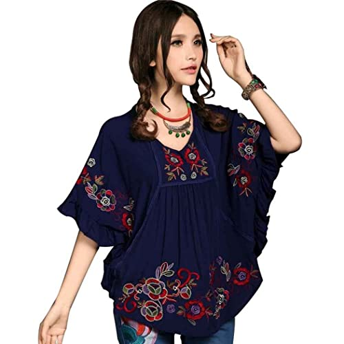 249367c8f09 Kafeimali Women s Tops Embroidered Loose Peasant Butterfly Mexican Blouse  Shirt