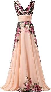 emmarcon Abito da Cerimonia Donna in Chiffon Damigella Vestito Lungo Elegante Floreale da Festa Party