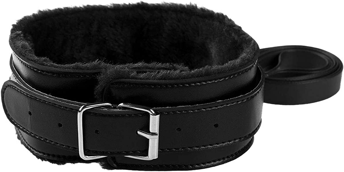 dPois Uinsex Classic Soft Fuax Leather Adjustable Handmade Fur Lining Choker Collar Necklace with Detachable Leash Chain