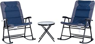 Outsunny 3 Piece Outdoor Folding Rocking Chair and Table Set - Blue and Grey