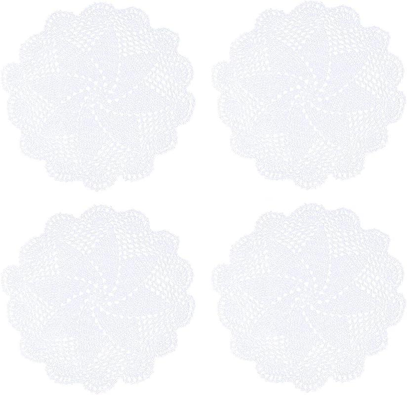 Kilofly Crochet Cotton Lace Table Placemats Doilies Pack 4pc White 10 Inch