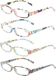 Reading Glasses 4 Fashion Women Eyeglasses With Floral Design Classic Spring Hinge Readers (0.50, 4 Pack Mix Color)