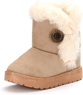 ENERCAKE Baby Girls Boys Warm Winter Booties Anti-Skid Slip-on Fur Lined Outdoor Snow Boots(Toddler/Little Kid)