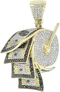 10K Gold Money Roll Diamond Pendant 100 Dollar Bills Diamond Charm Green and White 1.58ctw