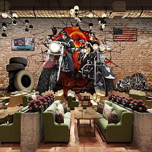 Nostalgisch retro fotobehang voor motorfiets, graffiti Brick Wall Street Art, 3D-muurafbeelding, voor muren, slaapkamer, restaurant, bar, decoratie 300x210cm