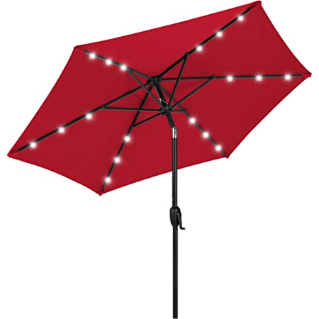Best Choice Products 7.5ft Outdoor Solar Market Table Patio Umbrella for Deck, Pool w/Tilt, Crank, LED Lights - Red