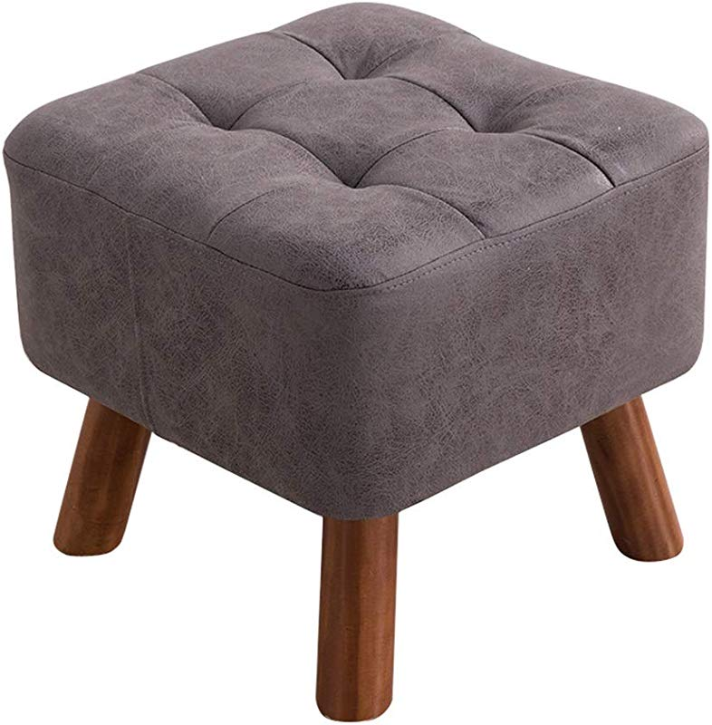 Wood Square Seating Footstool Modern Ottoman Pouffe Chair Shoe Bench Foot Stool Change 4 Legs Gray