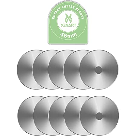 Xinart 45mm Rotary Cutter Blades for Fiskars/OLFA/Cricut/Nicapa Rotary Cutter, 10 Pack Replace Blades for Crafts Quilting Scrapbooking Sewing