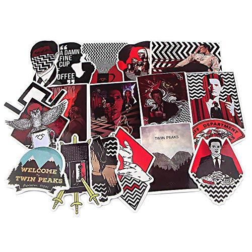 CHENX Twin Peaks Crow Sticker PVC Funda de Viaje Impermeable Skateboard Laptop Piano Body Sticker 18 Piezas