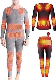 12 Pieces of Heating Zone Winter Plus Velvet Thermal Underwear Heating Thermal Underwear Tops Men's Smart Electric Heating...