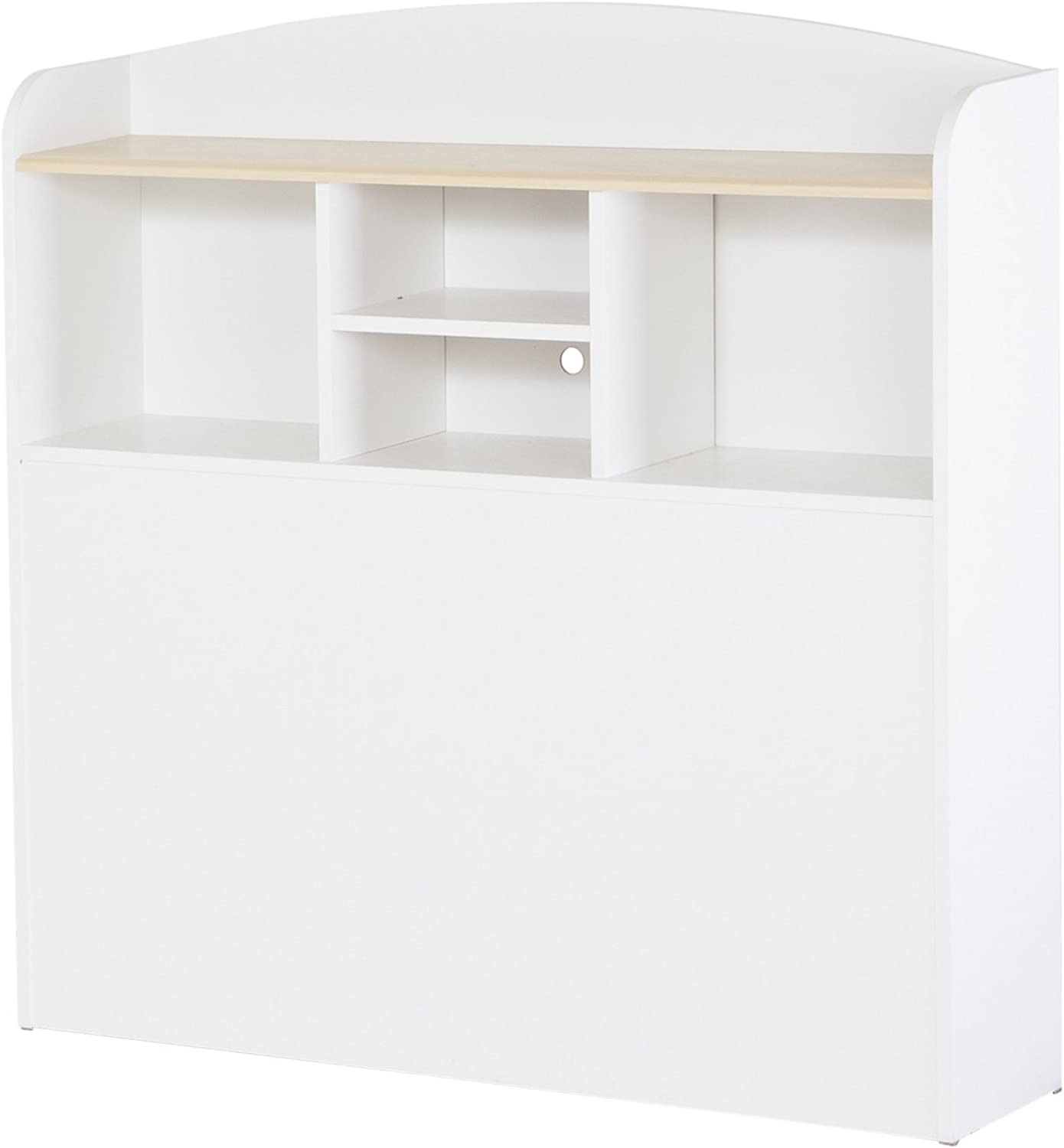 South Shore Furniture, Summertime Collection, Bookcase Headboard 39-Inch, Pure white and Natural Maple
