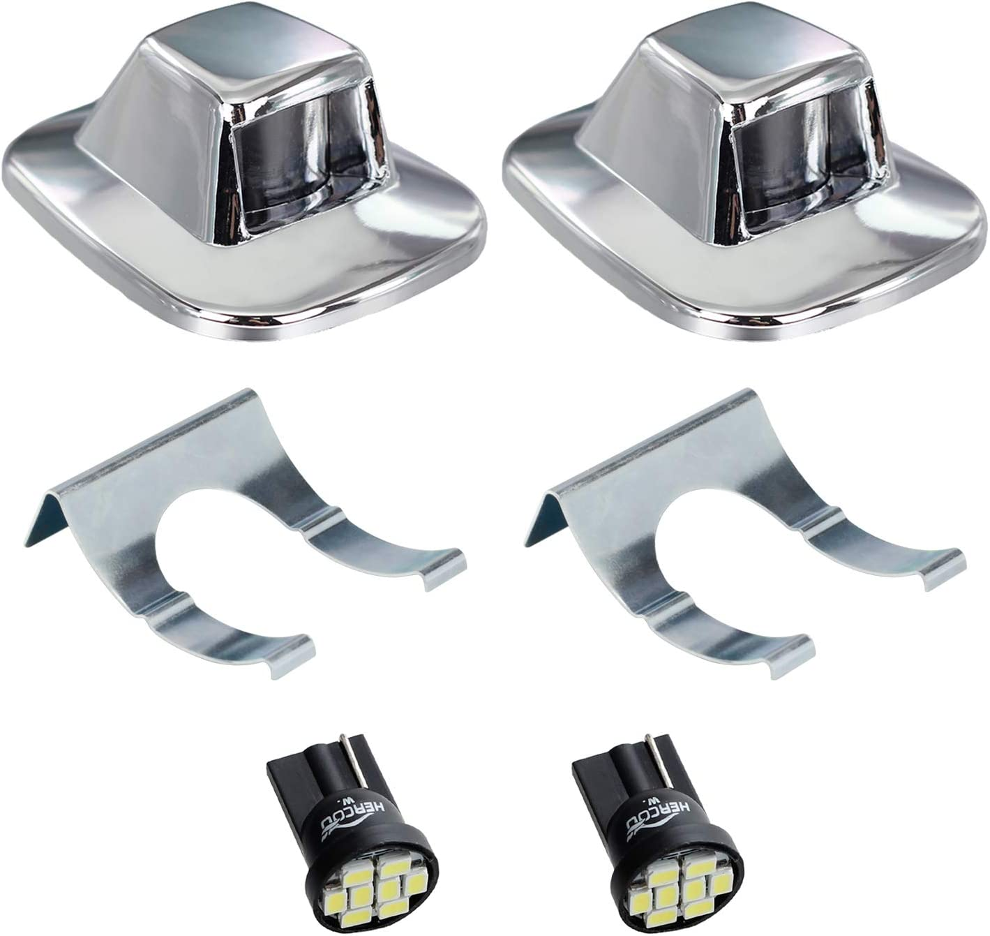 Easy-to-use HERCOO LED License Plate Light Lamp White Chrome Max 73% OFF Bulbs Lens Truc