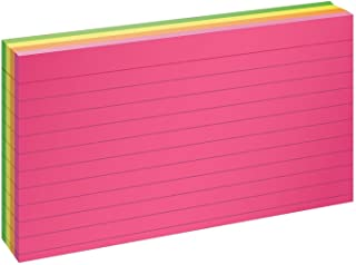 """Oxford Neon Index Cards, 3"""" x 5"""", Ruled, Assorted Colors, 100 Per Pack (40279)"""