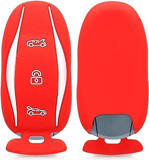 kwmobile Autoschlüssel Hülle kompatibel mit Tesla Model S Autoschlüssel   Silikon Schutzhülle Schlüsselhülle Cover in Rot