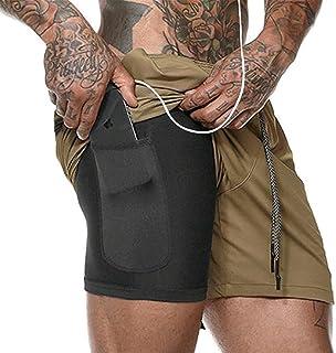 Leezepro Mens 2 in 1 Shorts Running Gym Sports Joggers Shorts with Headphone Hole