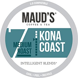 Maud's Kona Coffee Blend (Kona Coast), 100ct. Recyclable Single Serve Coffee Pods..