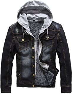 Lavnis Men's Winter Denim Hooded Jacket Slim Fit Casual Jacket Button Down Distressed Jeans Coats Outwear