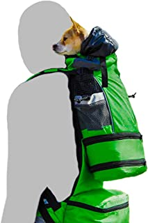 K9 Sport Sack™ FLEX   Dog Carrier Backpack For Small and Medium Pets  Foward Facing Adjustable Zippers for Size   Veterinarian Approved Safe Pack For Travel (XS-M, GREEN)