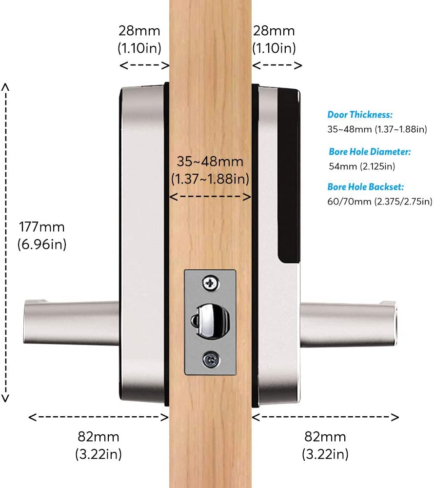 Black Smart Lock,Bluetooth Enabled Fingerprint and Touchscreen Electronic Door Lock|Smart Phone App Unlock|Keyless Entry|Auto Lock|for Home Office Apartment Hotel Garage School