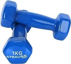 STRAUSS Unisex Adult ST-1517 Vinyl Dumbbell - Blue, 2 x 1 kg
