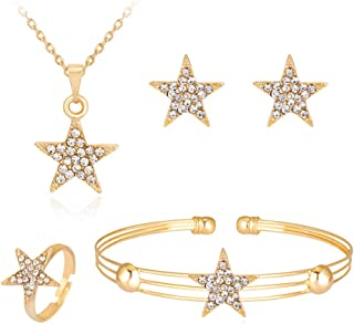 Dcfywl731 Exquisite Gold Crystal Queen Princess Crown Necklace Earring Bangle Ring Jewelry Set for Girls