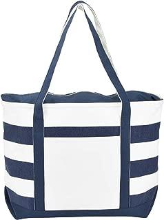 Striped Boat Bag Premium Cotton Canvas Tote in Navy Blue