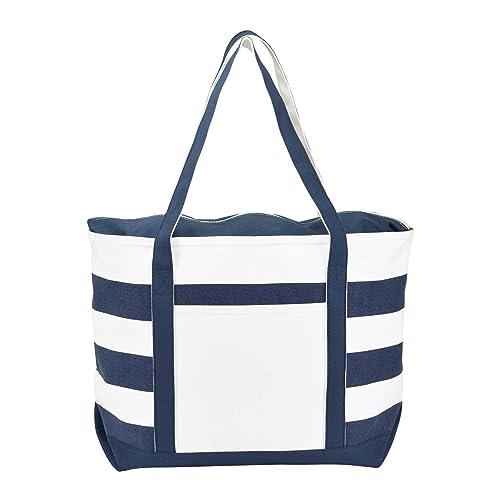 d44440593 DALIX Striped Boat Bag Premium Cotton Canvas Tote in Navy Blue