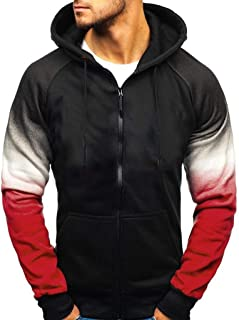 Hoodies for Men with Design Camouflage Color Printing Drawstring Zipper Fall Pullover Outwear Tops Hooded Sweatshirts