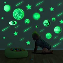 PDTO Glow in The Dark Stars and Planets Ceiling Wall Stickers Glowing Bright Solar System Wall Decals with 10pcs Planets 27pcs Stars and 12pcs Shooting Stars for Kid Bedroom Living Room