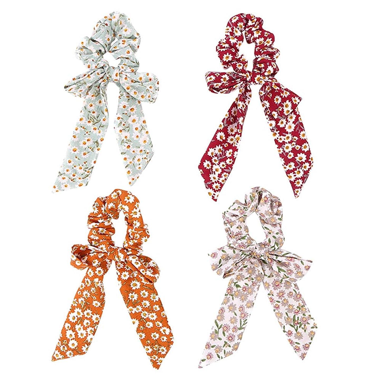 一般化する入場コートFrcolor 4本 ちょう結び弾性髪ネクタイ 華やかなヘアバンド 弾性伸縮性のある ヘアネクタイ 女の子ヘアアクセサリー(白 黄色 赤 緑)