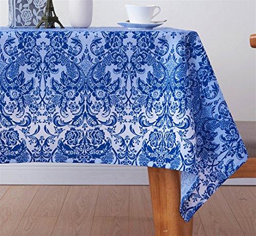 Liveinu Élégant Marocain Nappe de Table Nappe Rectangulaire Tissu de Table Rayure Lavable Entretien Facile Résistant Imperméable Anti-tâche pour Picnic Cuisine Jardin Terrasse Balcon 130x180cm Bleu