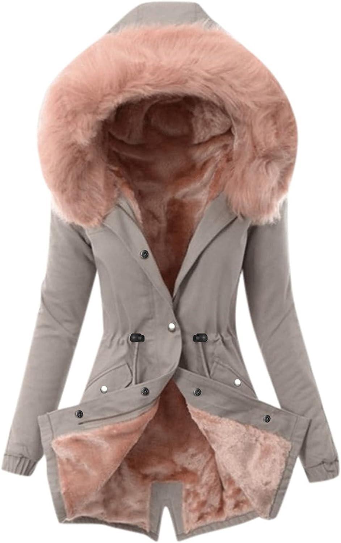 wodceeke Women Winter Warm Coat Long Sleeve Longer Length Elastic Waist with Faux Fur Trim Hood Jacket Outwear