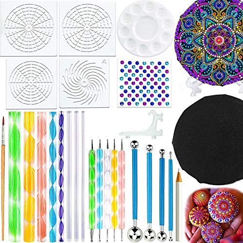 Mandala Stencil Paint Kit for Canvas, Rocks W/ Gems  $6.79 (60% OFF Coupon)