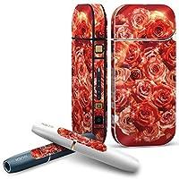 IQOS 2.4 plus 専用スキンシール COMPLETE アイコス 全面セット サイド ボタン デコ フラワー 薔薇 赤 写真 004966