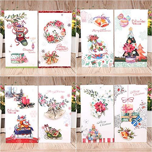 クリスマスカード 16枚(8種) 3Dカバー効果 クリスマス飾り メッセージカード 封筒付き 封筒テープ付き 花 215*120mm ギフトカード 絵本のような絵柄 2つ折り (K90-16枚)