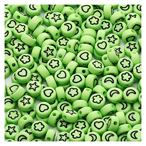 WEIMEIDA Suliaoz10 4 * 7mm Colorido Flower Flower Star Heart Heart Beads Redondo Piso Placa Spacer Placa para la Bricolaje Hacer Pulsera Bricolaje Rosario (Color : Green, Item Diameter : 200Pcs)