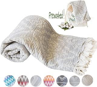 Mebien Turkish Beach Bath Towel Peshtemal-Luxury Prewashed Cotton Blanket Ren Grey 33x66 inches