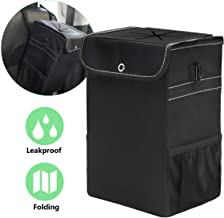W J Zone Car Trash Can, Waterproof Car Trash Can Bag with Lid and Storage Pockets, Portable Car Accessories Organizer with Leak Proof Vinyl