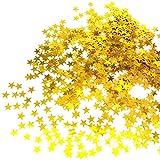 JZK® 5000 x 1cm Gold Sterne Glitzer Plastik Konfetti Tisch Confetti, Handwerk Geschenk Deko...