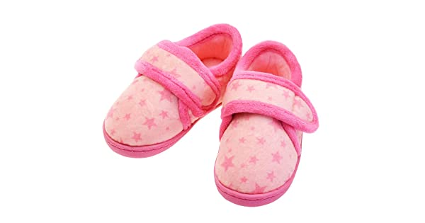 LA PLAGE Slippers for Boys No-Skid Warm Cotton Winter Cozy Indoor Slip-on Slippers with Hard Sole