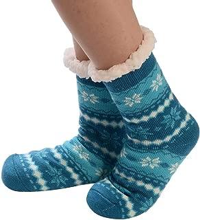 Cenglings Women's Winter Super Soft Warm Cozy Fuzzy Deer Fleece-Lined with Grippers Slipper Socks