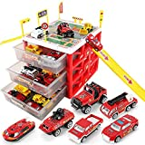 WISHTIME Parking Lot Car Garage Playset Matchbox Cars playsets ,Vehicle Toy Fire Car Storage Box Toys Set Educational Gift with 6 Fire trck, Ramps, Traffic Signs for Kids