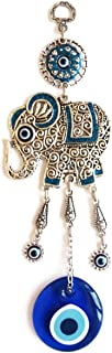 Erbulus Elephant and Glass Turkish Evil Eye Home Protection Charm - Blue Elephant Hanging Ornaments Wall Decor