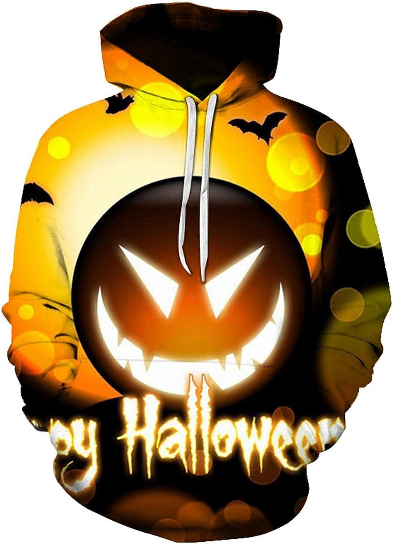 KEEYO Unisex Halloween Hoodies Jackets Funny Realistic Pumpkin 3D Printed Graphic Hooded Sweatshirt with Kangroo Pocket