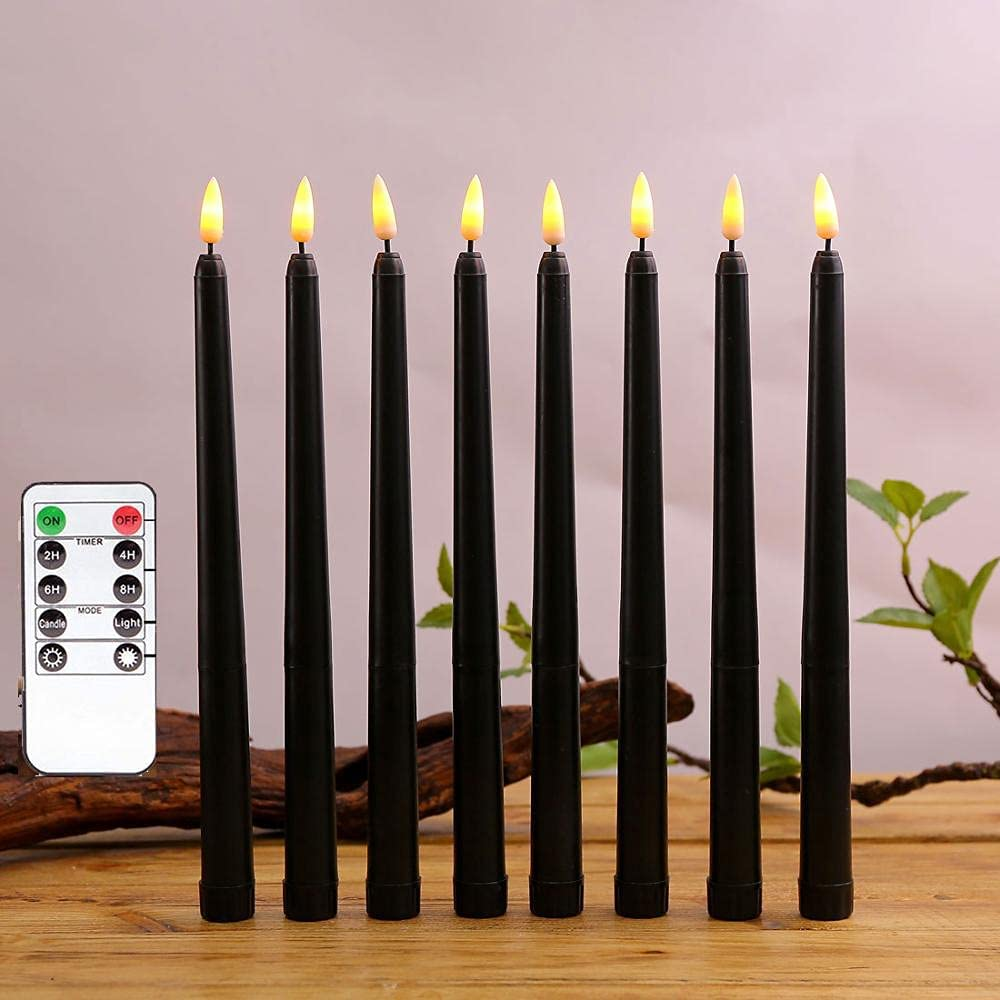 ZGMWE Candelabras Max 89% OFF Black Body Candlestic Flameless Remote Control Safety and trust
