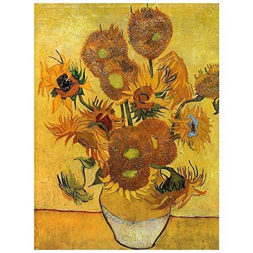 LegendArte Stampa su Tela - I Girasoli - Vincent Van Gogh cm. 50x60 - Quadro su Tela, Decorazione Parete