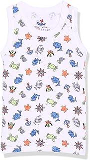 PaPillon Printed Cotton Sleeveless Undershirt for Kids, White & Blue, 18 Months