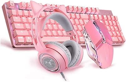 BLWX Rosa mechanische Tastatur-Maus-Headset-Set M dchen niedlich E-Sport gr ne Achsentastatur wei e Hintergrundbeleuchtung dynamischer Lichteffekt -104-Taste Tastatur Farbe B Schätzpreis : 150,66 €